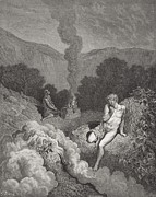Mountain Drawings Framed Prints - Cain and Abel Offering Their Sacrifices Framed Print by Gustave Dore