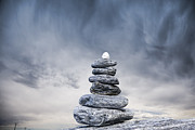 Balance Photo Prints - Cairn and Stormy Sky Print by Colin and Linda McKie