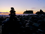 Christopher Fridley Prints - Cairn at Ruby Beach Print by Christopher Fridley