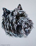 Black Eye Susan Paintings - Cairn Terrier Dusty by Susan Herber