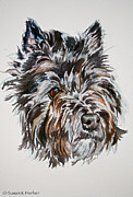Black Eye Susan Paintings - Cairn Terrier Martha by Susan Herber