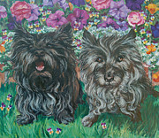 Barking Painting Metal Prints - Cairn Terriers Metal Print by Christine Lytwynczuk