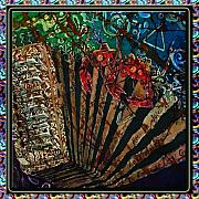 Bands Tapestries - Textiles Prints - Cajun Accordian - Bordered Print by Sue Duda