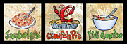 Crawfish Painting Posters - Cajun Food Trio Poster by Elaine Hodges
