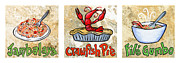 Gumbo Posters - Cajun Food Trio White Border Poster by Elaine Hodges