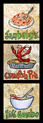 Crawfish Painting Posters - Cajun Trio Black Poster by Elaine Hodges