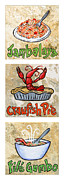 Crawfish Painting Posters - Cajun Trio White Poster by Elaine Hodges