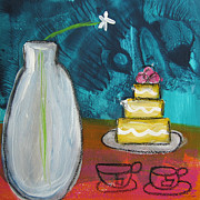 Table Mixed Media Metal Prints - Cake and Tea For Two Metal Print by Linda Woods