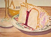 Dessert Wine Paintings - Cake and Wine by Loretta Barra