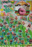 Bun Mixed Media Posters - Cake Burger Poster by Lisa Piper Stegeman