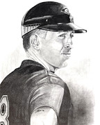 Mlb Baseball Drawings - Cal Ripken Jr.  by Devin Millington