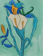 Brandon Drucker Prints - Cala Lilly Blue Print by Brandon Drucker