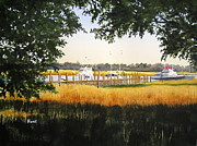 Live Oak Trees Paintings - Calabash Pier by Shirley Braithwaite Hunt