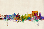 Urban Watercolour Prints - Calcutta India Skyline Print by Michael Tompsett