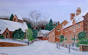Peter Farrow Metal Prints - Caldy Village in Winter  Metal Print by Peter Farrow