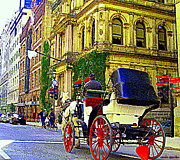 Horse And Buggy Painting Posters - Caleche Ride By The Hotel Le St James Vieux Port Montreal Old World Charm And Elegance C Spandau Art Poster by Carole Spandau