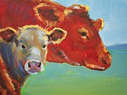 Mike Jory Cow Posters - Calf and Cow Painting Poster by Mike Jory