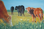 Mike Jory Cow Posters - Calf painting Poster by Mike Jory