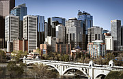 City Skylines Framed Prints Prints - Calgary Center Street Bridge Print by Tula Edmunds