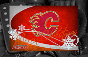 Calgary Flames Framed Prints - Calgary Flames Christmas Framed Print by Joe Hamilton