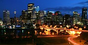Calgary Framed Prints - Calgary skyline at night Framed Print by Jetson Nguyen