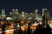 Calgary Framed Prints - Calgary Skyline Framed Print by Domenik Studer