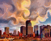 Cityscape Digital Art Metal Prints - CalgarySkyline Metal Print by Anthony Caruso