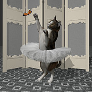 Tutus Digital Art - Calico Ballet Cat on Paw-te by Andre Price