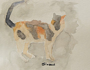 Watercolor Cat Paintings - Calico by Curt Simpson
