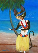 Furry Felines Painting Prints - Calico Hula Queen Print by Jamie Frier