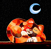 Feline Digital Art - Calico in the Moonlight by Nick Gustafson