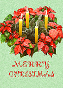 Christmas Card Digital Art Metal Prints - California Cactus Christmas Metal Print by Mary Helmreich