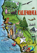 Caricature Art - California Cartoon Map by Kevin Middleton