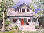 Charming Cottage Painting Posters - California craftsman cottage Poster by Patricia Pushaw