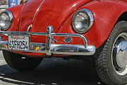 Vdub Framed Prints - California Dreaming - Red Volkswagen Beetle Front Framed Print by Georgia Fowler