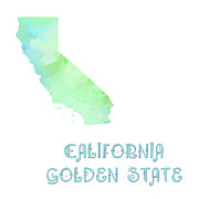 Abstract Map Mixed Media - California - Golden State - Map - State Phrase - Geology by Andee Photography