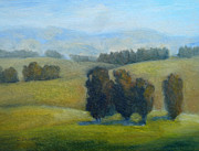 Impressionistic Landscape Paintings - California Hills Late February by Carolyn Jarvis
