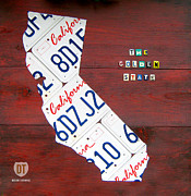 Golden Mixed Media Framed Prints - California License Plate Map Framed Print by Design Turnpike