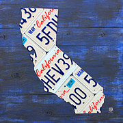 California Map Framed Prints - California License Plate Map On Blue Framed Print by Design Turnpike