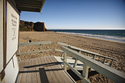 Scenic Posters - California Lifeguard shack at Zuma Beach Poster by Adam Romanowicz