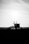 Santa Monica Posters - California Lifeguard Stand in Black and White Poster by Paul Velgos