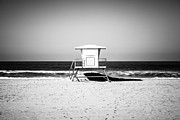 Huntington Prints - California Lifeguard Tower Black and White Picture Print by Paul Velgos