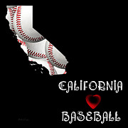 California State Map Digital Art - California Loves Baseball by Andee Photography