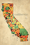 San Francisco Mixed Media Metal Prints - California Map Crystalized Counties on Worn Canvas by Design Turnpike Metal Print by Design Turnpike