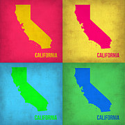 World Map Digital Art Metal Prints - California Pop Art Map 1 Metal Print by Irina  March