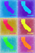 Map Art Digital Art Prints - California Pop Art Map 2 Print by Irina  March