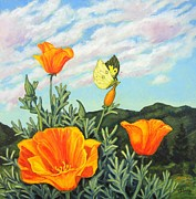 Cloudy Day Paintings - California Poppies and Butterfly by James Derieg