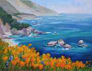 California Coast Paintings - California Poppies Big Sur by Karin  Leonard