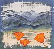 Landscapes Tapestries - Textiles - California Poppies by Carolyn Doe