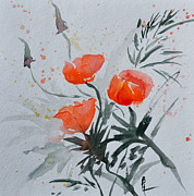 Brushtrokes Framed Prints - California Poppies Sumi-e Framed Print by Beverley Harper Tinsley